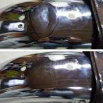 Image of Chrome Antique Motorcycle crease on rear fender before and after dent removal
