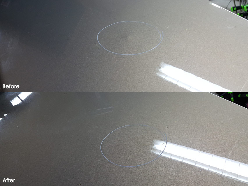 Image of Outward or Outie Dent Repair on an Impala trunk lid before and after