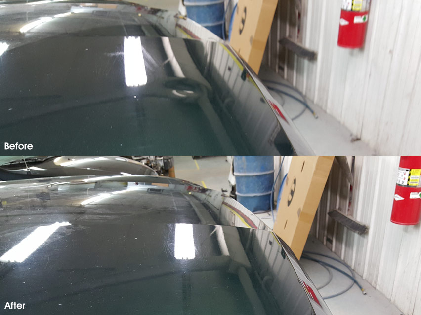 Image of Softball Sized Dent on hood before and after PDR