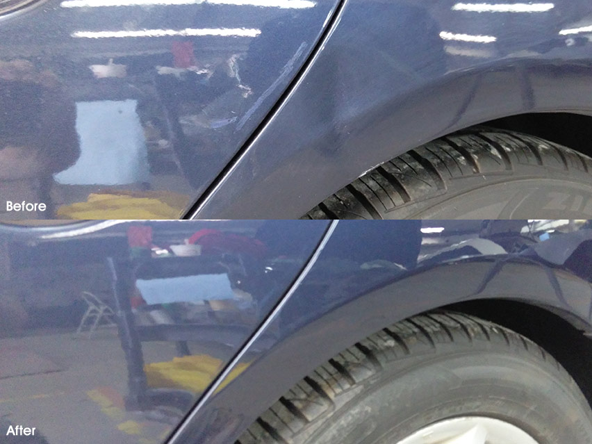 Honda Civic Quarter Panel Before and After Dent Repair, Automotive repair experience at MI Dent Guy