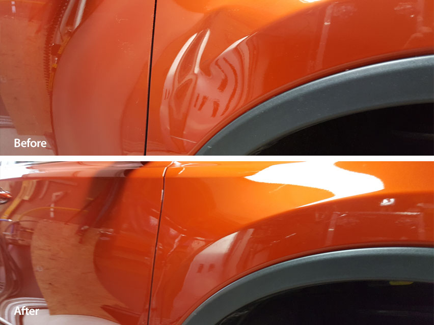 Image of large fender dent before and after paintless dent repair