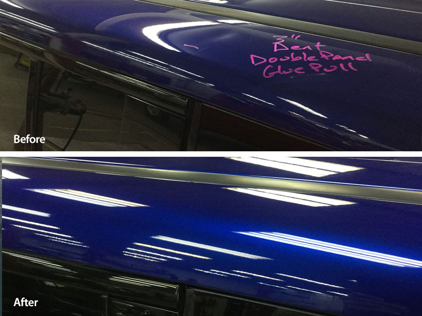 Image of a Ford Flex fender storm damage dent before and after