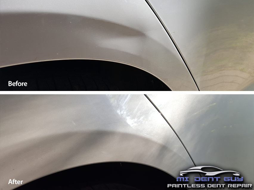 Image of a Large Crease Dent White Toyota Quarter Panel