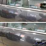 Image of Impala door with Baseball dent on body line before and after Paintless Dent Repair