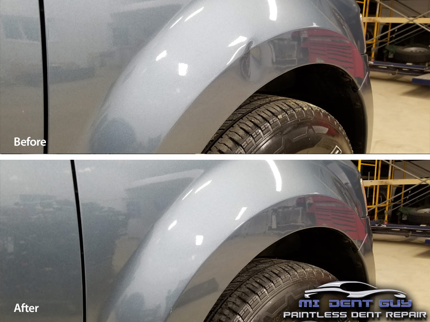 Image of Ford Escape Bodyline dent before and after paintless dent repair