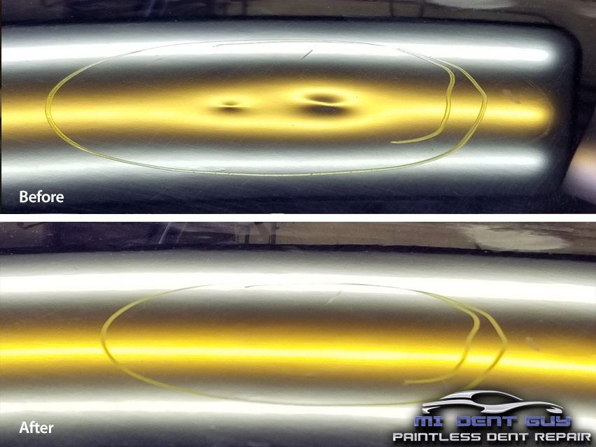 Image of large hail dents before and after paintless dent repair