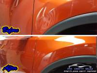 image of large fender dent before and after Vicksburg Dent Repair